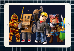 Apple iPad mini with Roblox characters